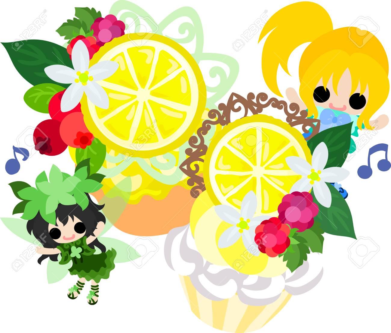 かわいい女の子とかわいい妖精とレモンのお菓子のイラストのイラスト素材 ベクタ Image