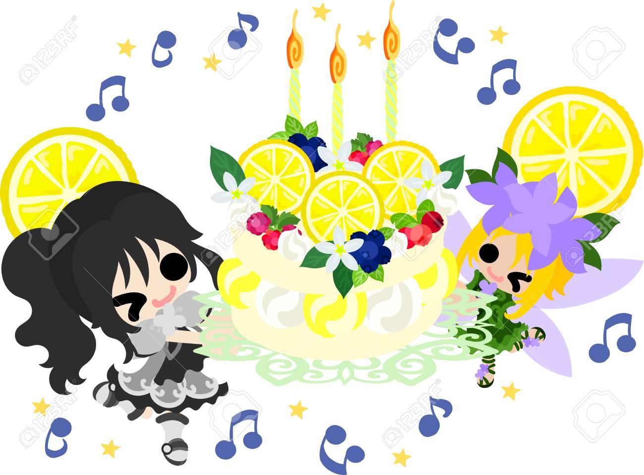 かわいい女の子とかわいい妖精とレモンの誕生日ケーキのイラストの