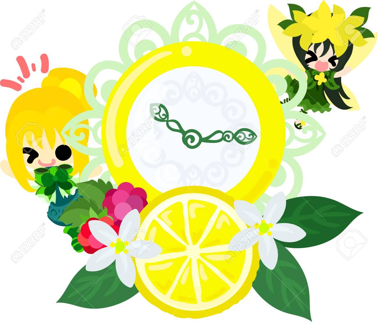 かわいい女の子とかわいい妖精とレモンの時計のイラストのイラスト素材