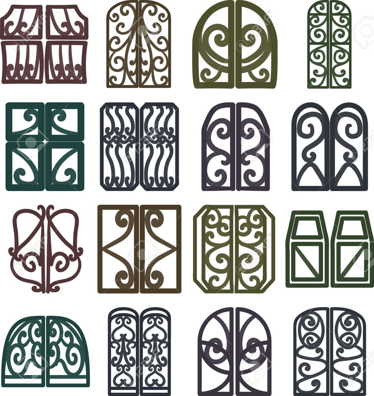 Fashionable window frame icons in various shapes - 168205038