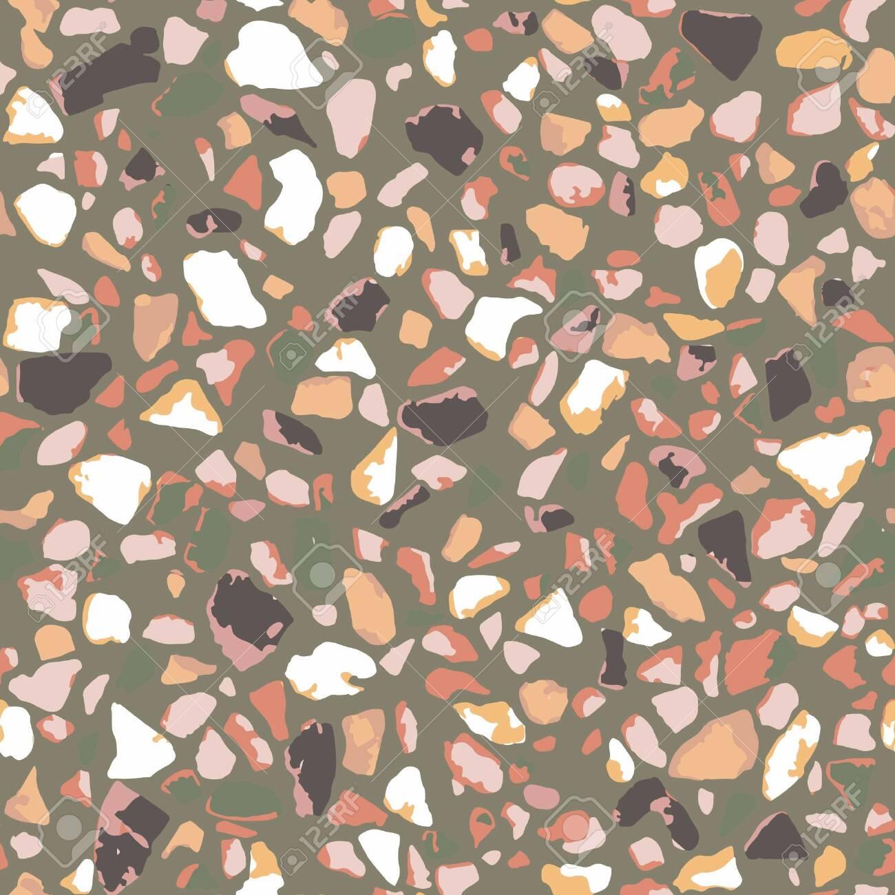 Terrazzo Flooring Seamless Pattern Brown Background Texture