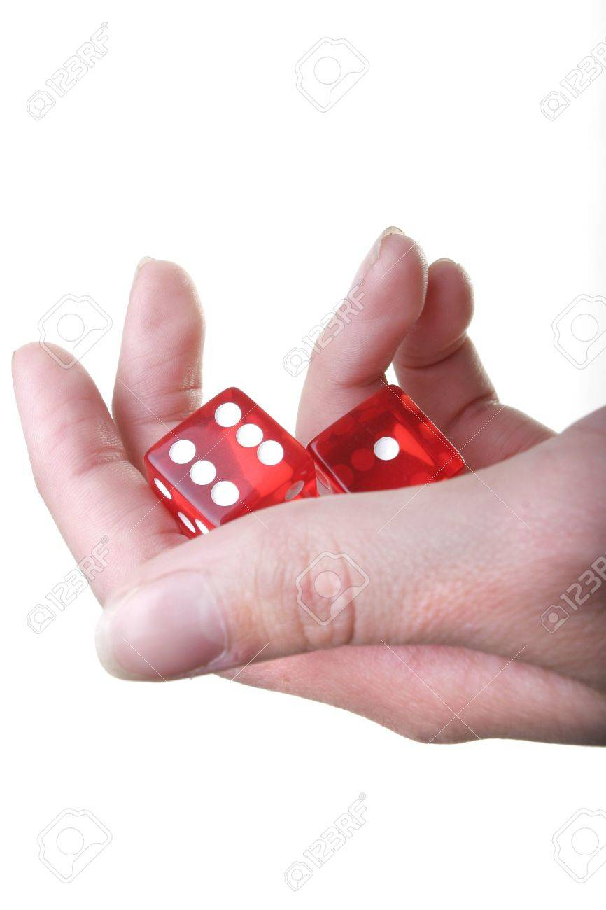 Hand with two red dice isolated on white background Stock Photo - 926470