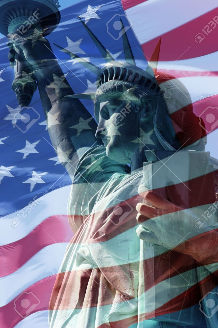 Combination Statue of liberty and the United States of America flag Stock Photo - 3731305