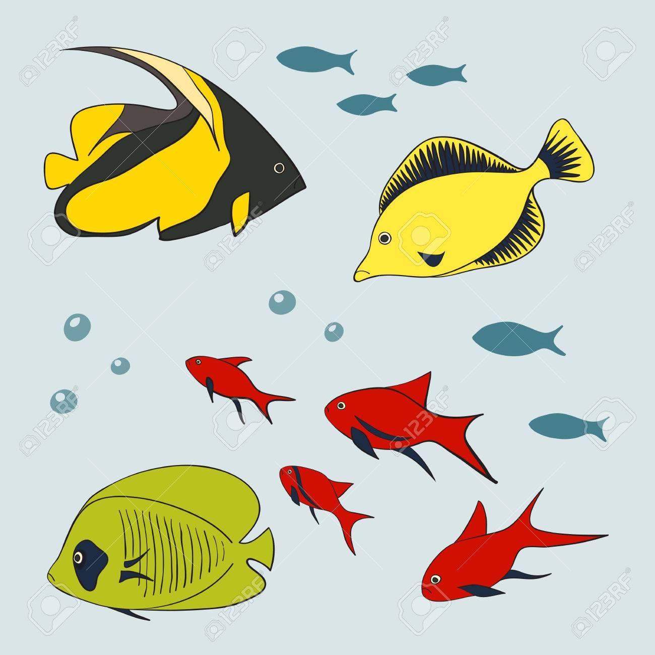 かわいい魚イラストのセットのイラスト素材ベクタ Image 56408436