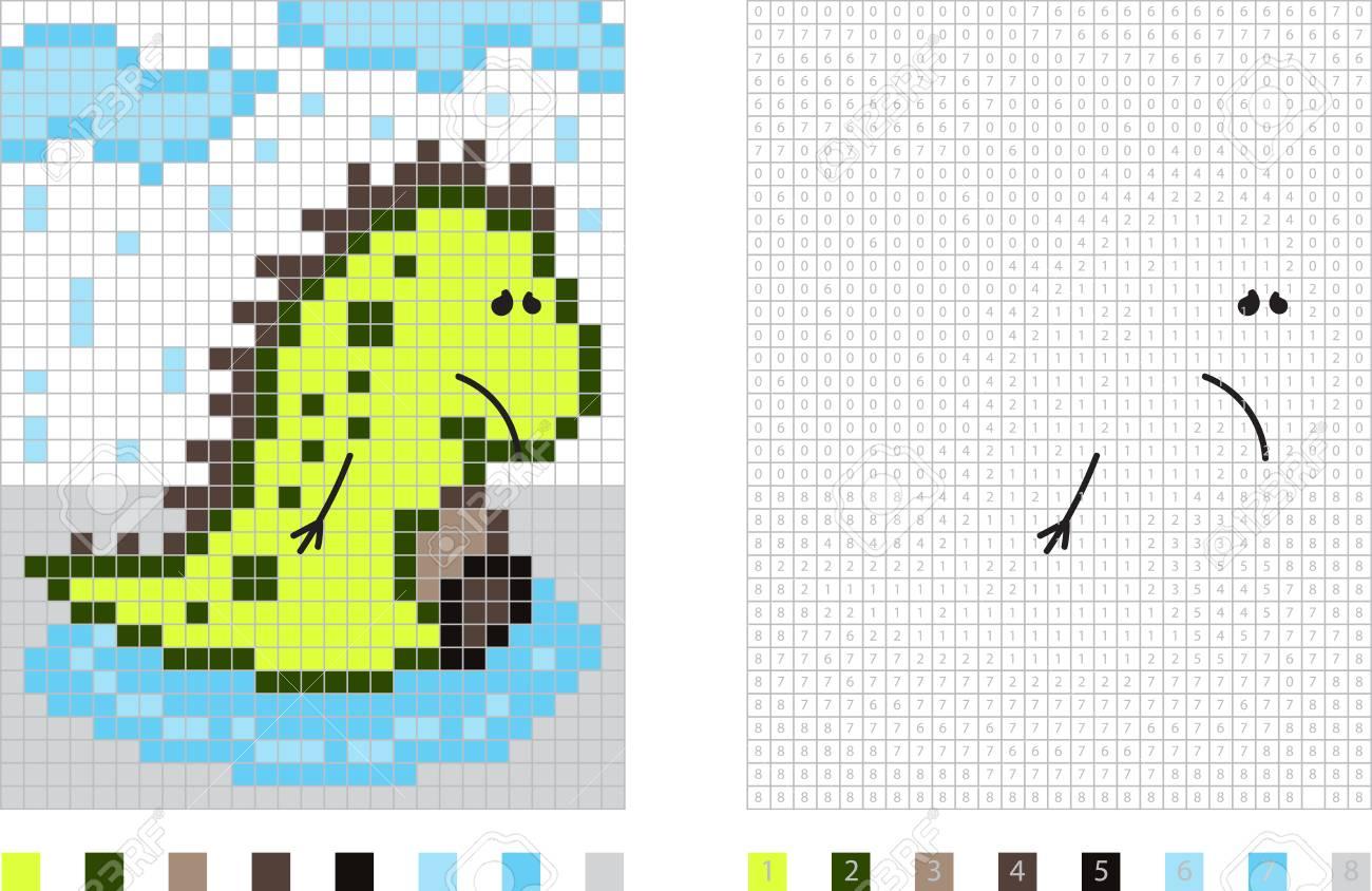 Dinosaure Dans La Bande Dessinee De Pixel De Pluie Coloriage Par Illustration De Nombres