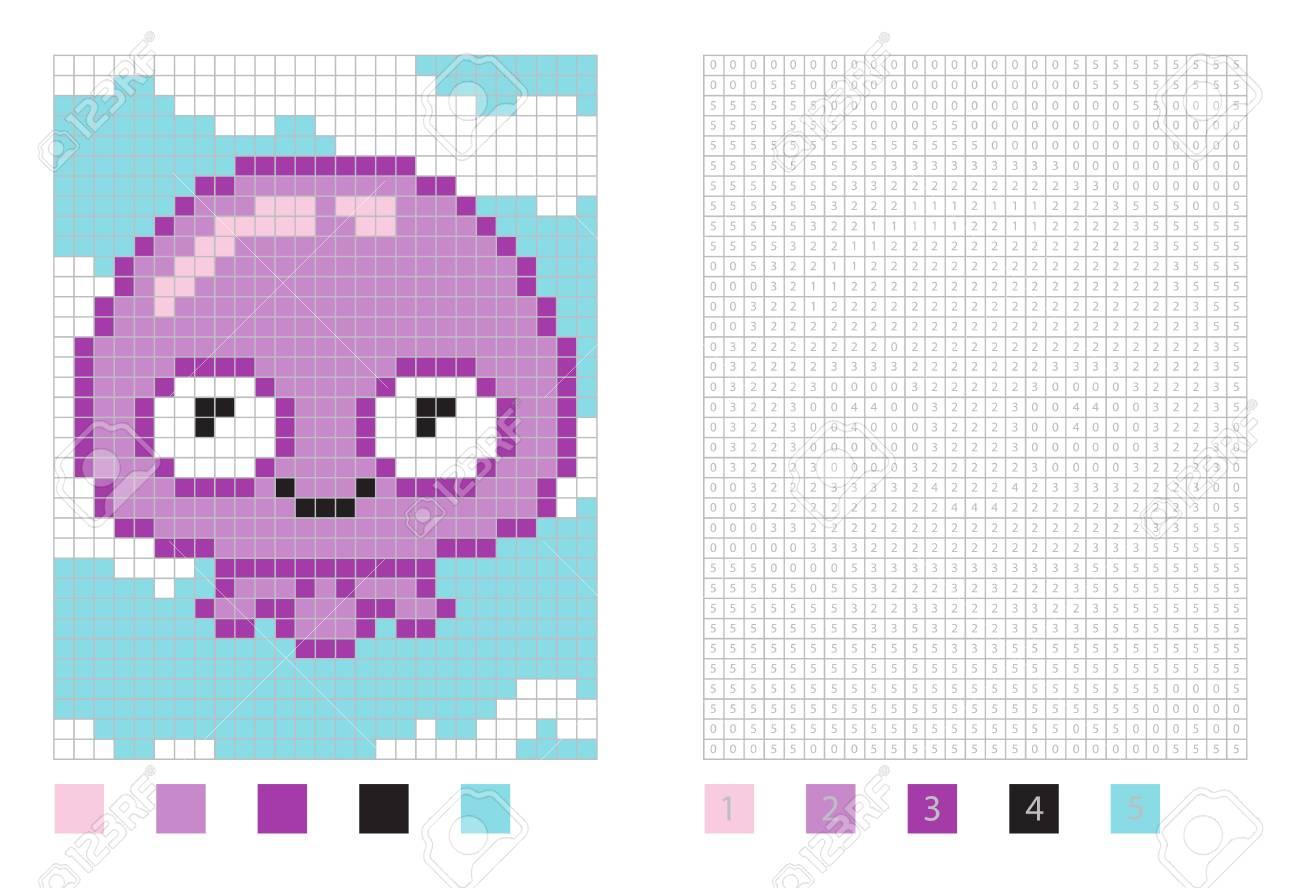 Dibujos Animados De Medusas Pixel En La Página Para Colorear Con Ilustración De Cuadrados Numerados
