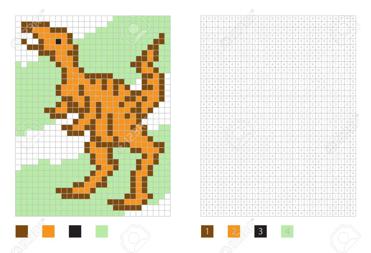 Pixel Dinosaur Cartoon In The Coloring Page With Numbered Squares ...