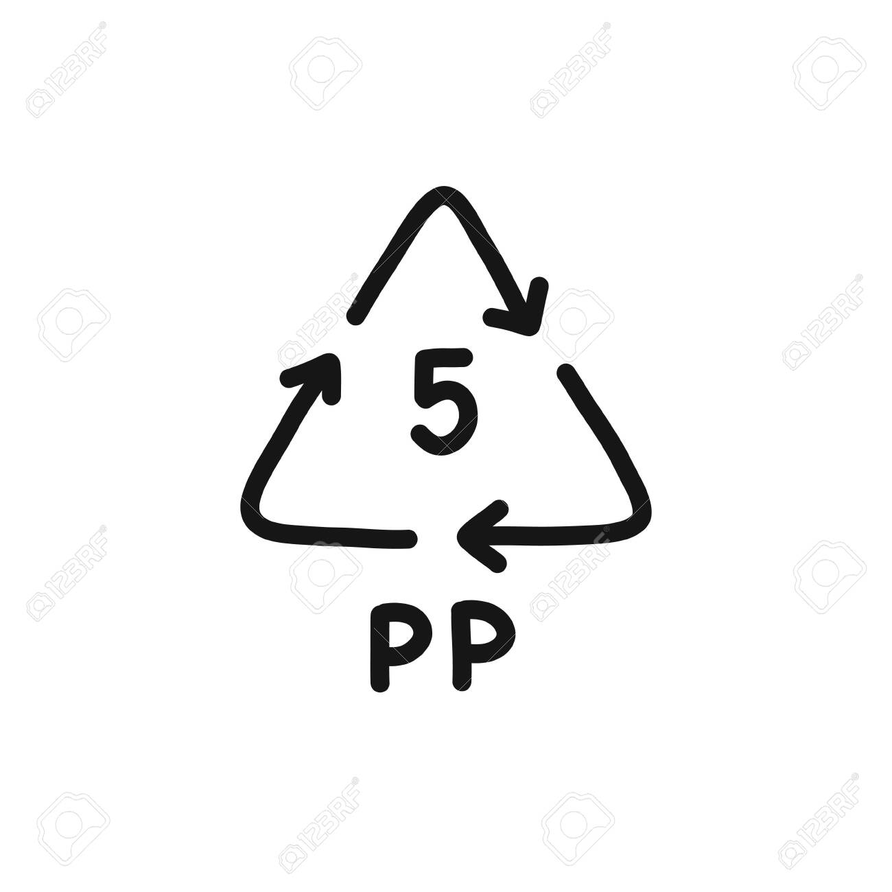 plastic types for recycling symbol doodle icon, vector color illustration - 145756342