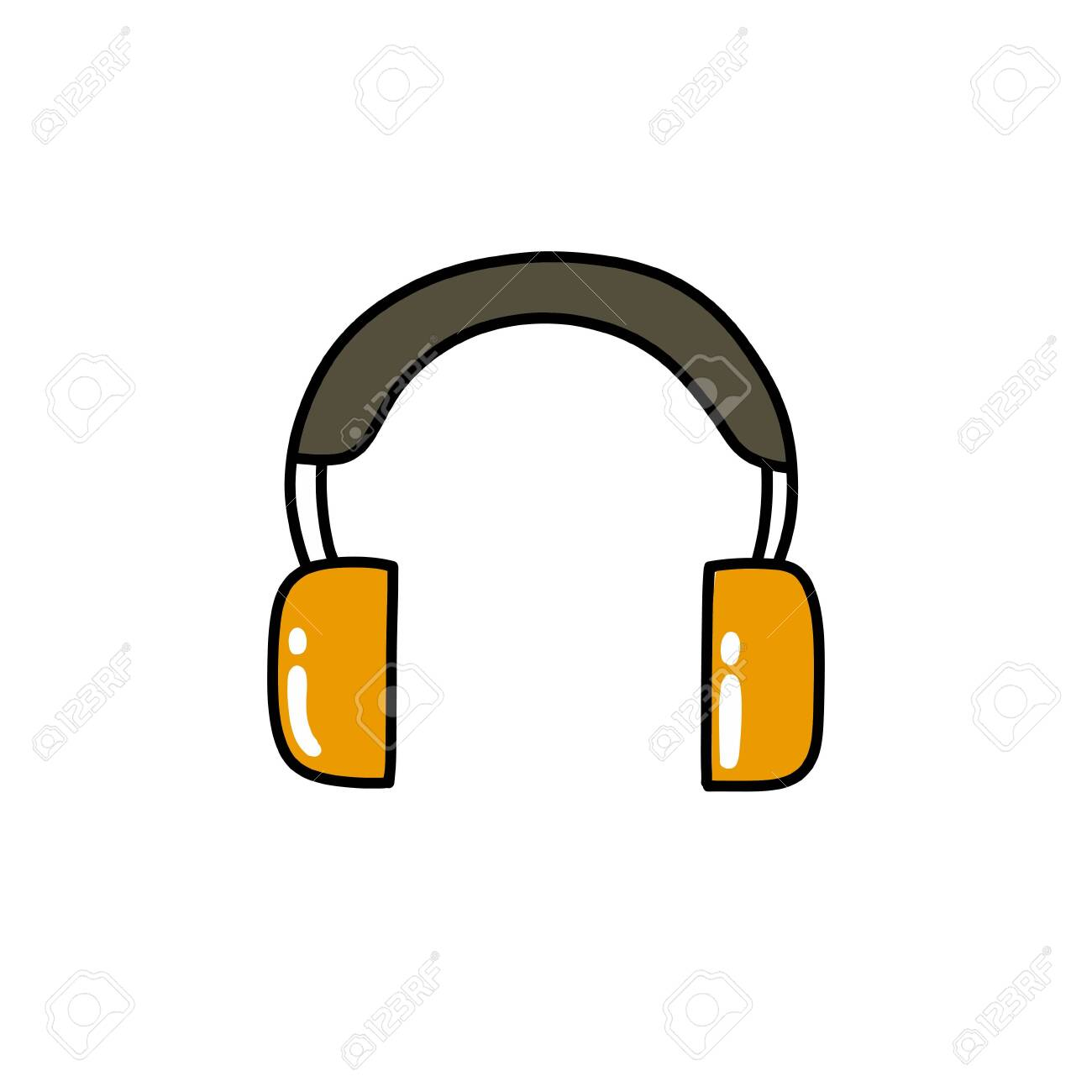 protective ear muffs doodle icon, vector color illustration - 149043390