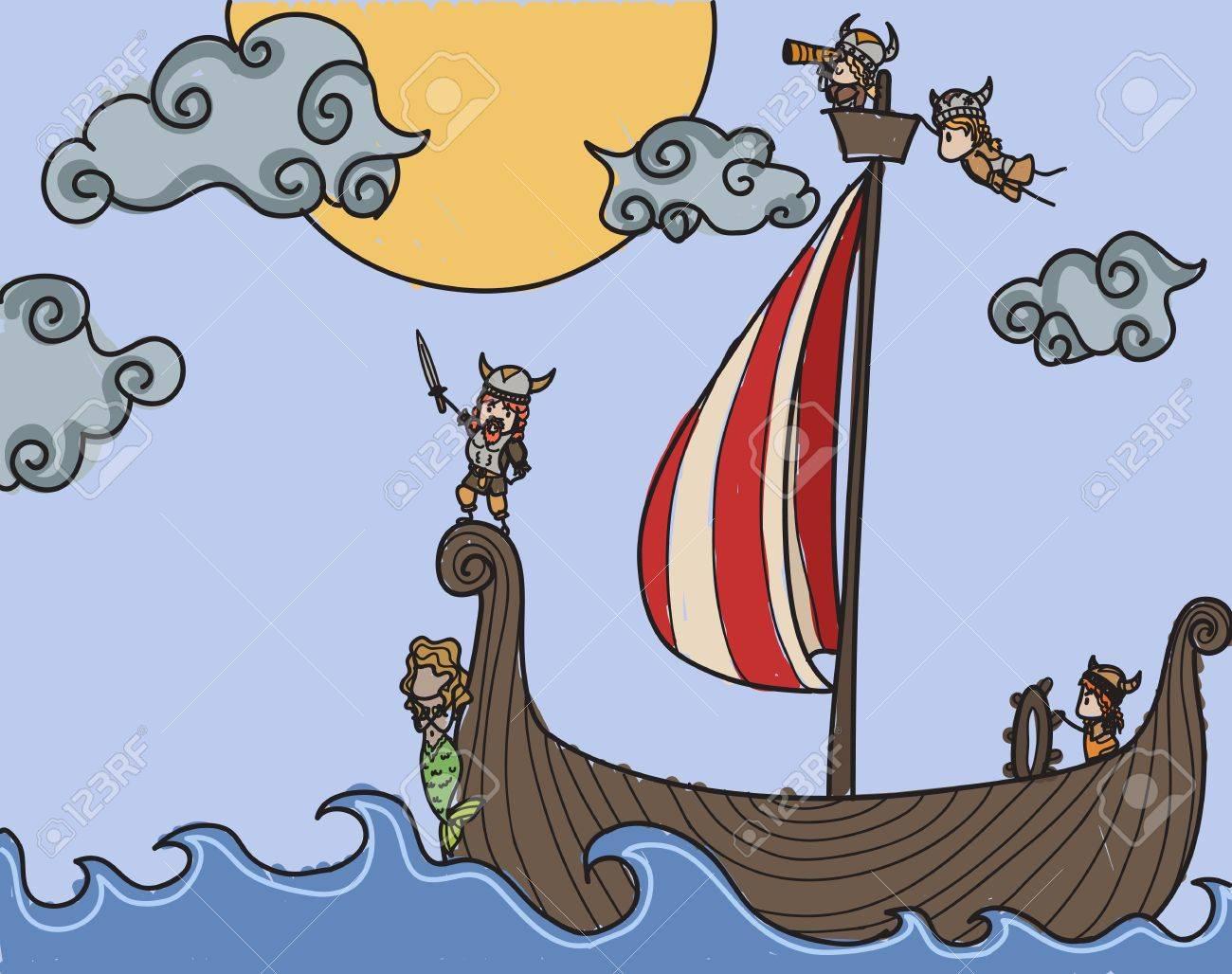 Vikings on a boat at sea Stock Vector - 19156797
