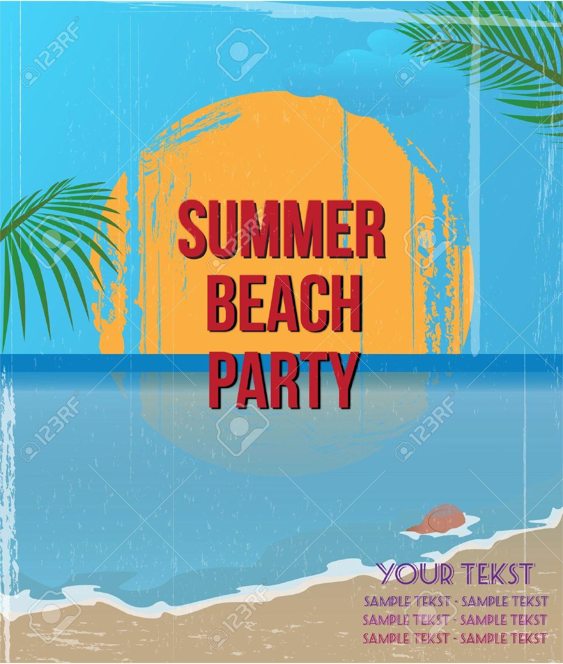 Vintage summer beach poster - 19749569