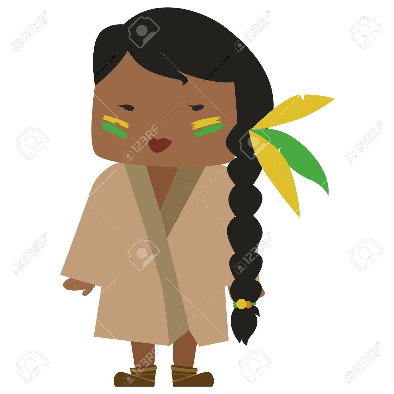 Comic Bild Von Einem Native American Madchen Mit Einem Schonen