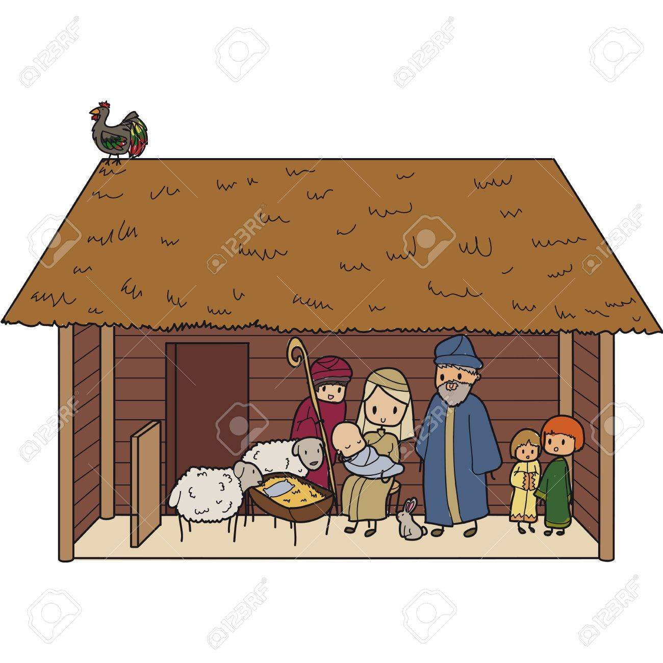illustration of a Christmas crib with Virgin Mary and baby Jesus - 66264688