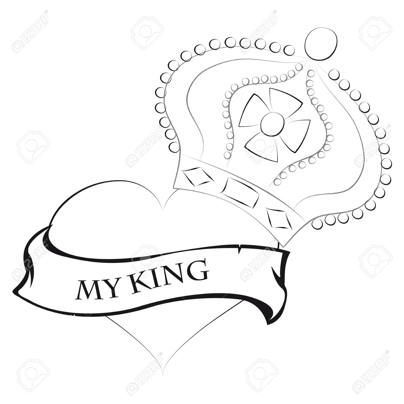 Pencil drawing of a heart shape with a king crown king and my text stock vector