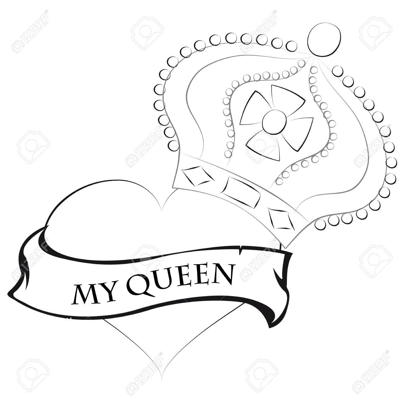 Pencil drawing of a heart shape with a queen crown on top and a ribbon saying