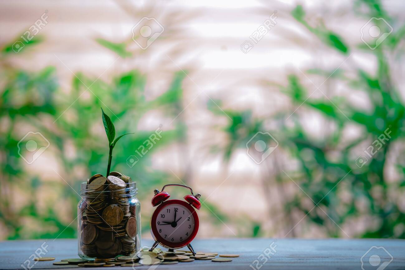 Glass jar with coins Plant seedlings grow on bottles - investment ideas for growth - 122398529