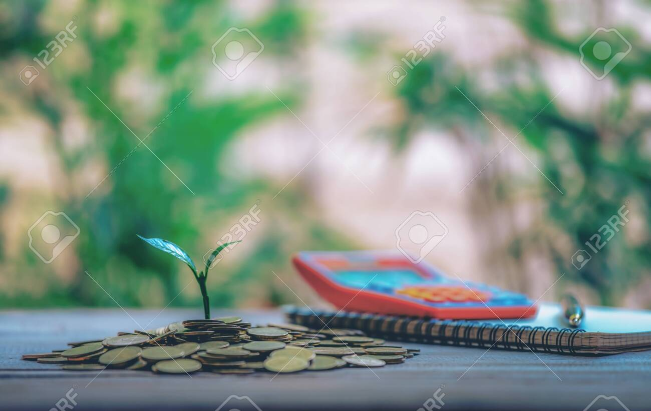 House Placed On Coins. Notebook and Pen Prepare Planning Savings Money of Coins to Buy a Home Concept For Property Ladder, Mortgage And Real Estate Investment. For Saving Or Investment For A House. - 122398533