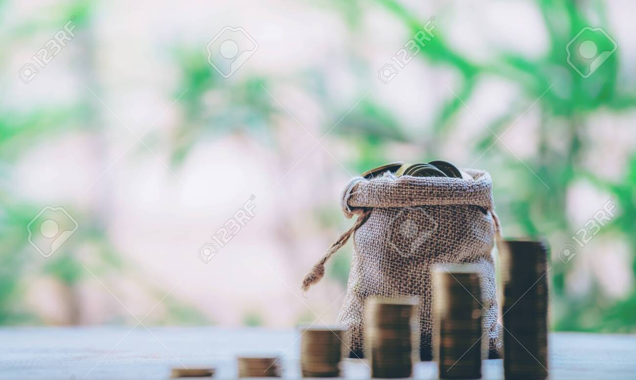 Planting coins in hemp bags - investment ideas for growth - 122398352