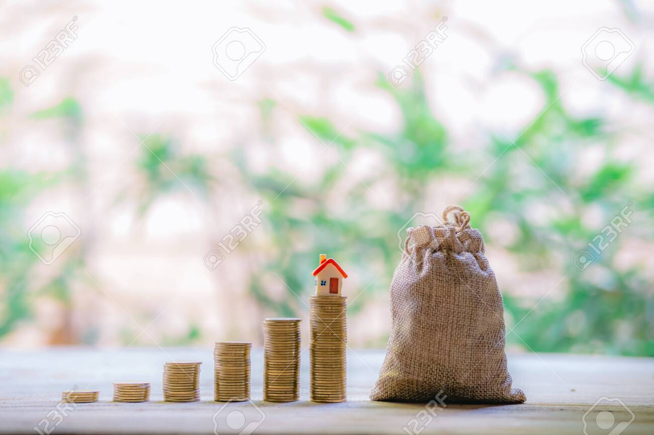 Small house add coin column The concept of saving money, investment properties - 122398349