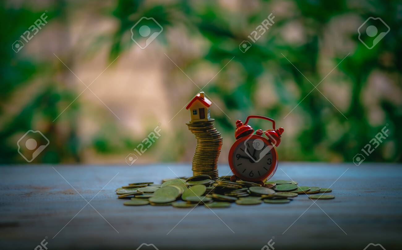 Small house add coin column The concept of saving money, investment properties - 122398363