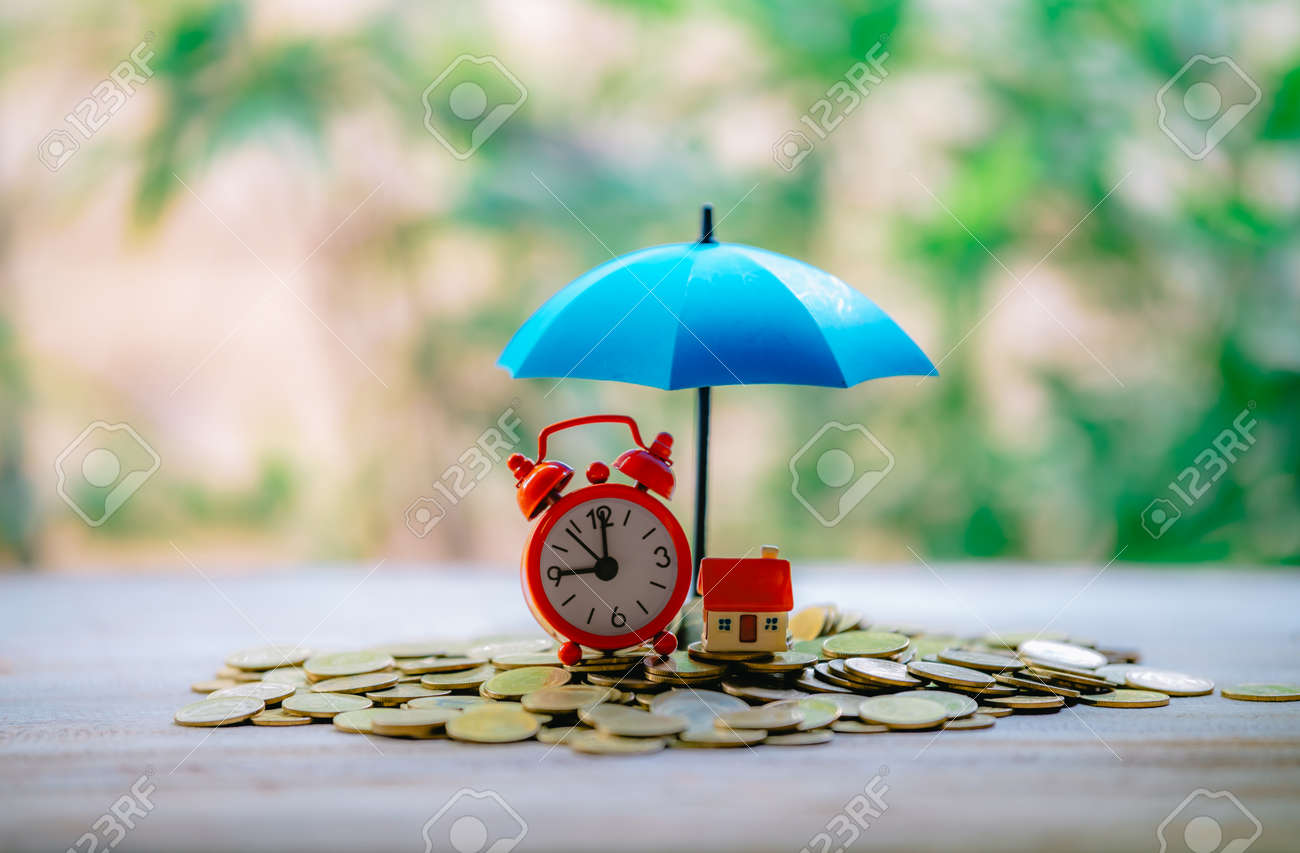 Spread blue umbrella for a small house that will be placed on a coin The concept of financial risk prevention Investment property - 122398214