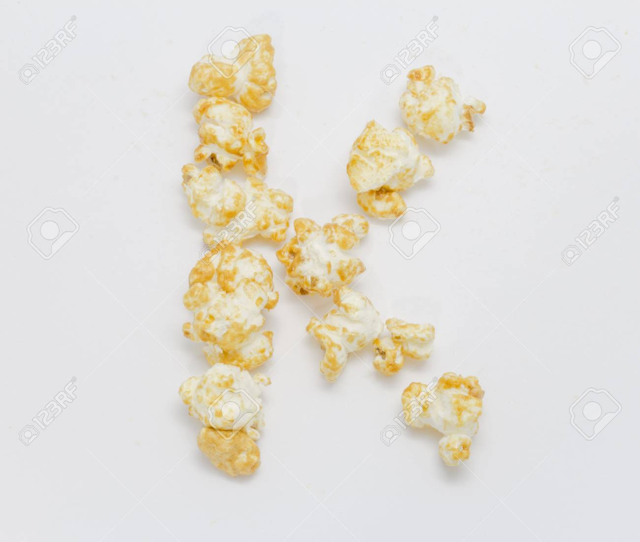 Pop Corn Forming Letter K Isolated On White Background Stock Photo Picture And Royalty Free Image Image 47232129