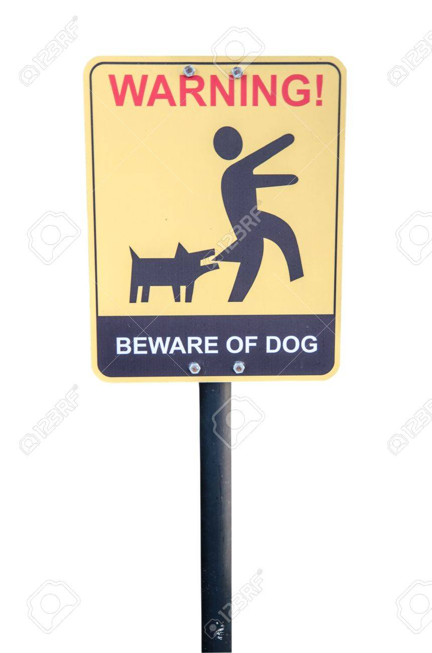 Beware of the mad dog - warning sign Stock Photo - 20303909