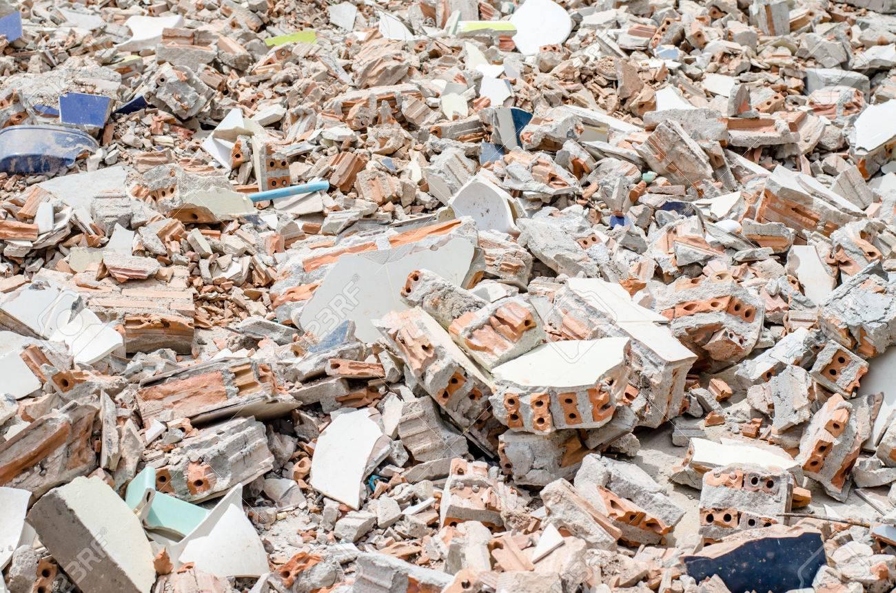 Concrete and brick rubble debris on construction site - 45125357