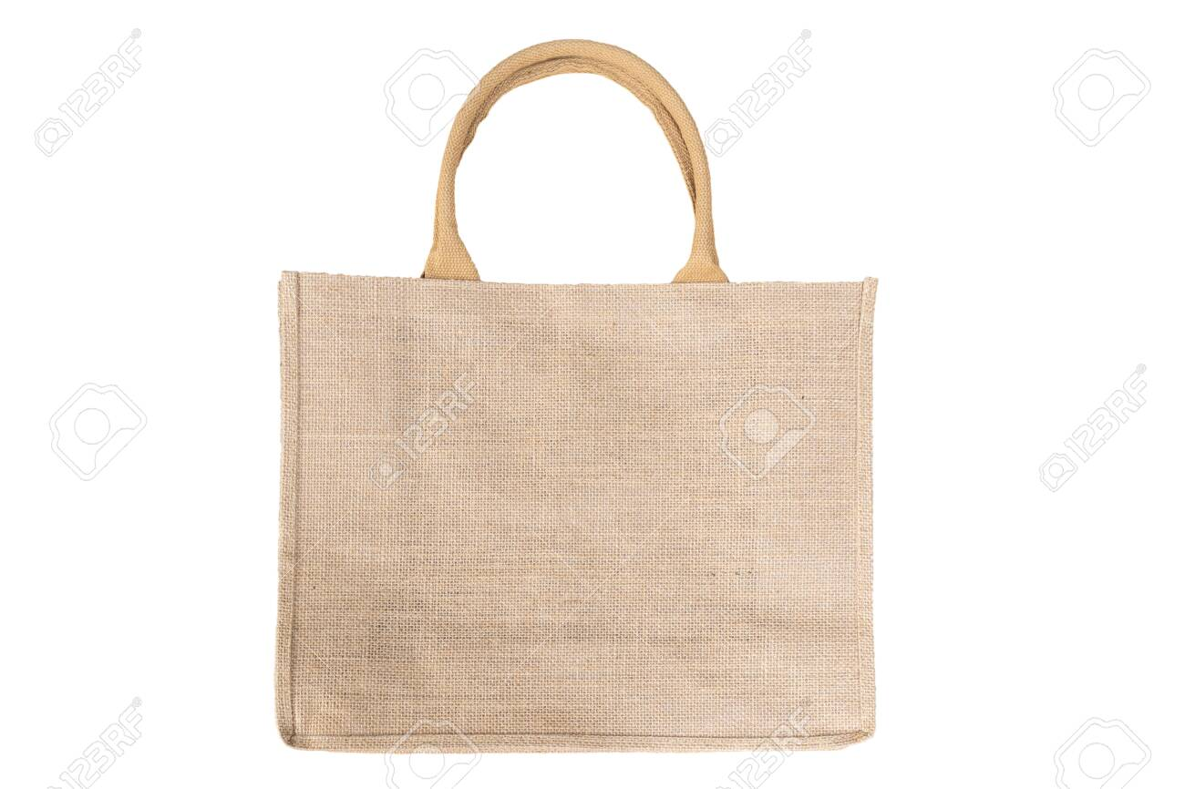Shopping bag made out of recycled Hessian sack In Natural Brown Color Handles Isolated On White Background - 153536900