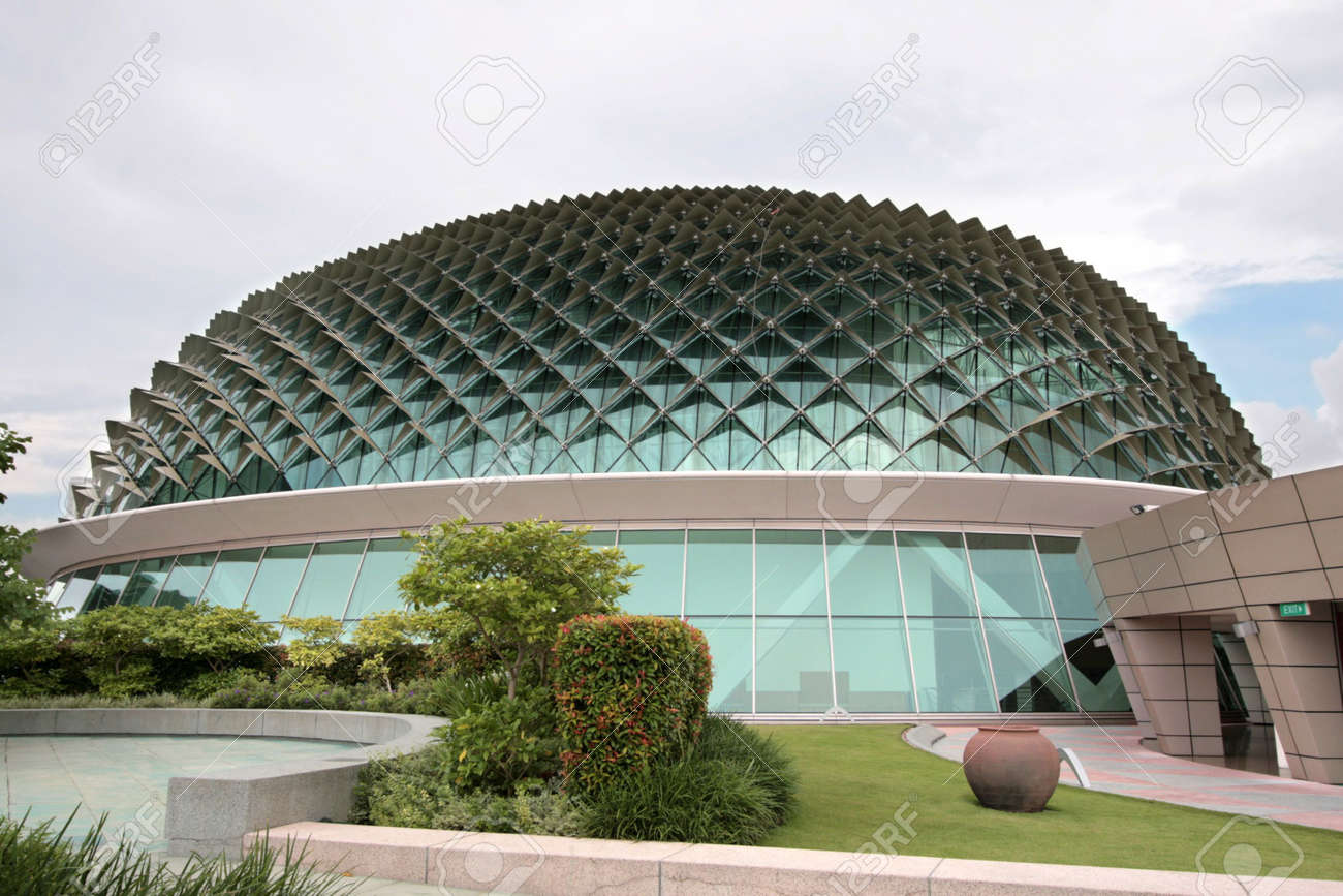 Wide Angle Shot Of Circular Ultra Modern Architecture Stock Photo