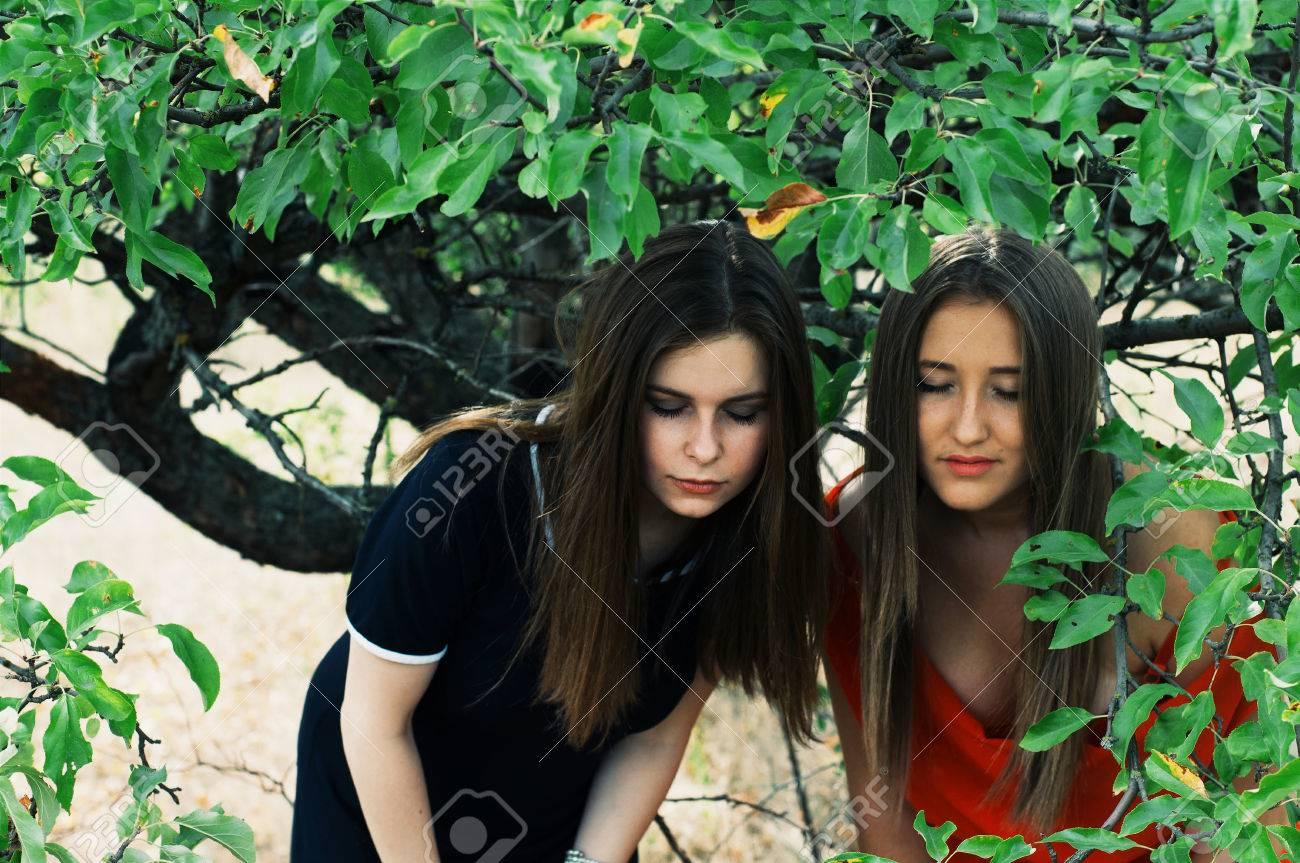 5faa003f105e Retrato de hermosas chicas jóvenes vestidas con vestido largo ornoe y rojo.  Dos chicas, amigos, poztruyut en parque del resorte en el fondo de ...