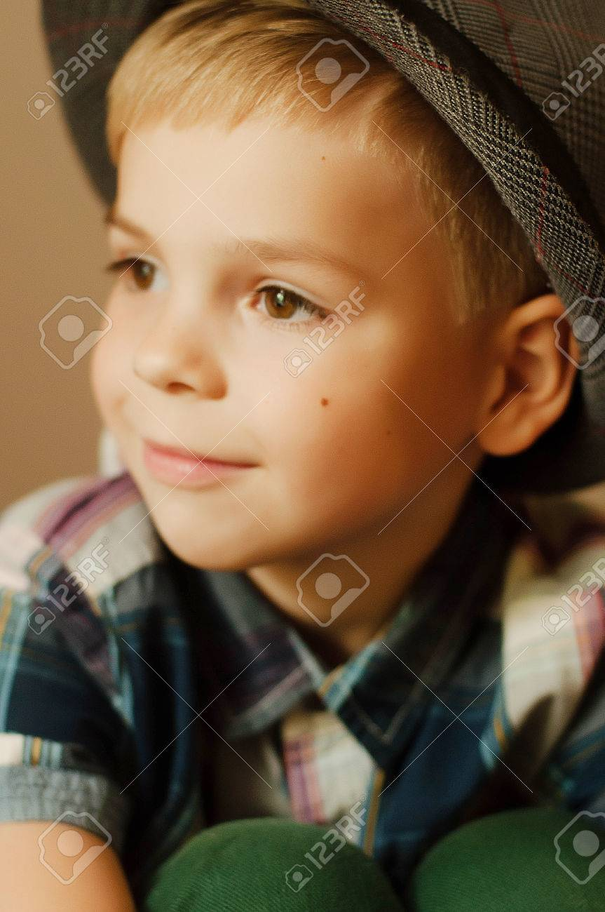 child's happy face . portrait of a cute kid. little boy with.. stock