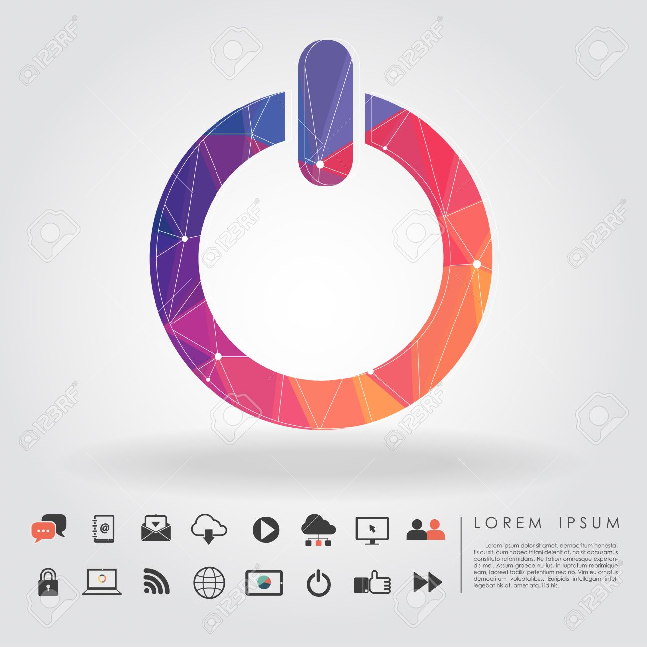 Polygon power button symbol with communication icon vector royalty polygon power button symbol with communication icon vector stock vector 26466432 buycottarizona
