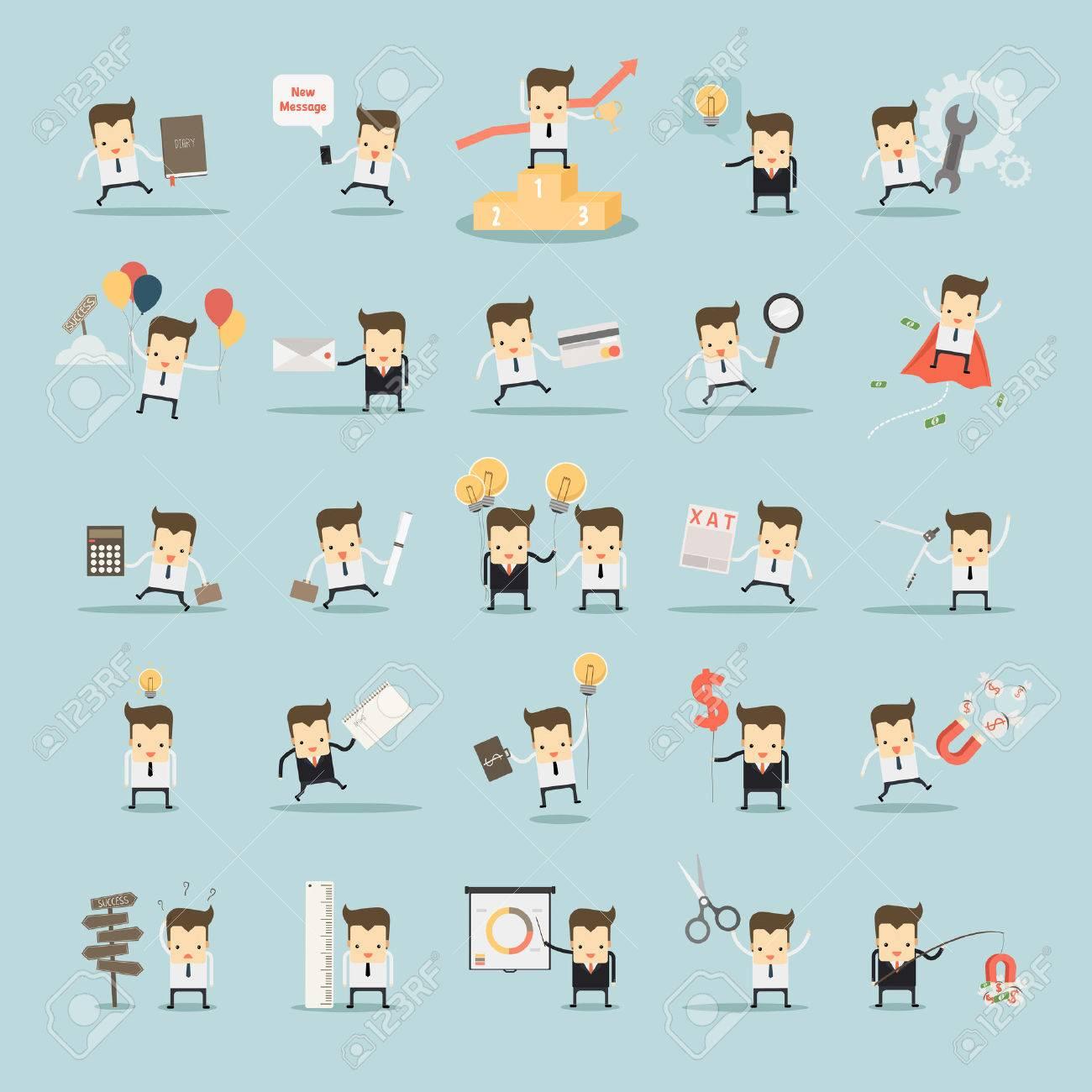 set of businessman activities vector - 37461397