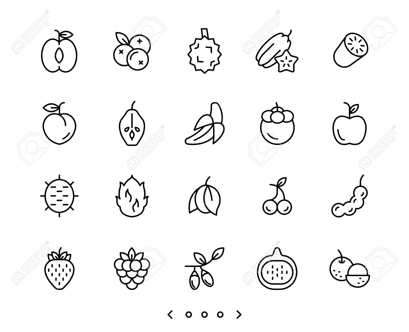 fruits line icons set vector - 150328201