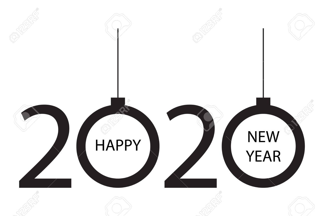 Christmas 2020 Logo 2020 Vision, Happy New Year 2020 Logo Text With Christmas Balls