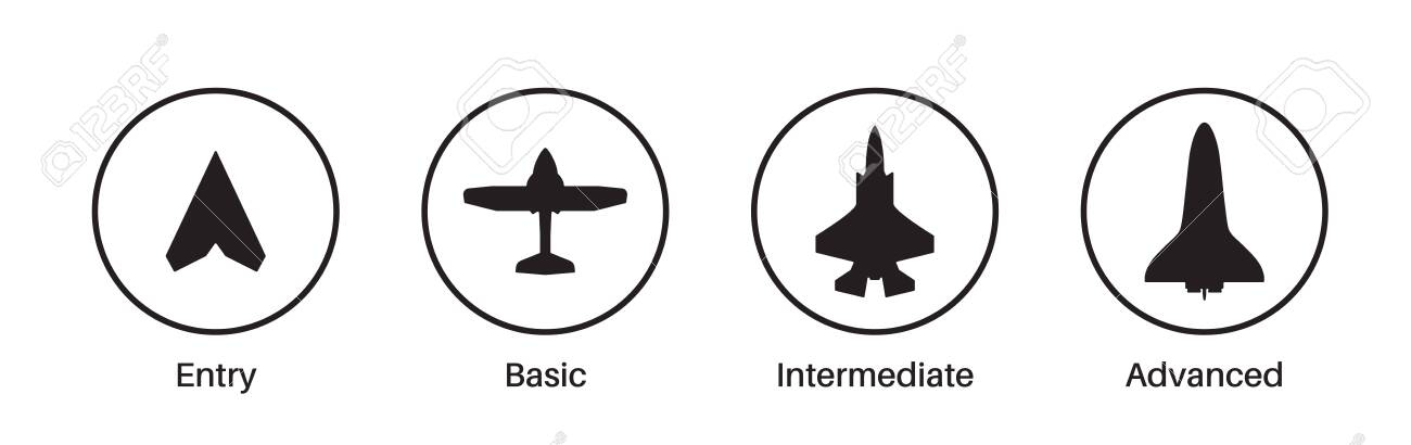 Expertise, competence, skill or experience level icons. Airplane, aircraft silhouettes. Job skills levels. Path to the success or goal. Basic, medium advanced, expert symbols. Flat vector illustration - 134071638