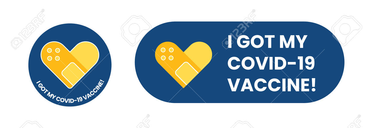 Vaccine campaign stickers with medical plaster. Vaccination badges - 168592176