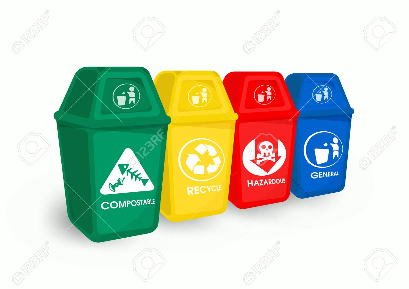 Color trash and garbage separation Is a recycle and environmentally friendly waste. - 126314007