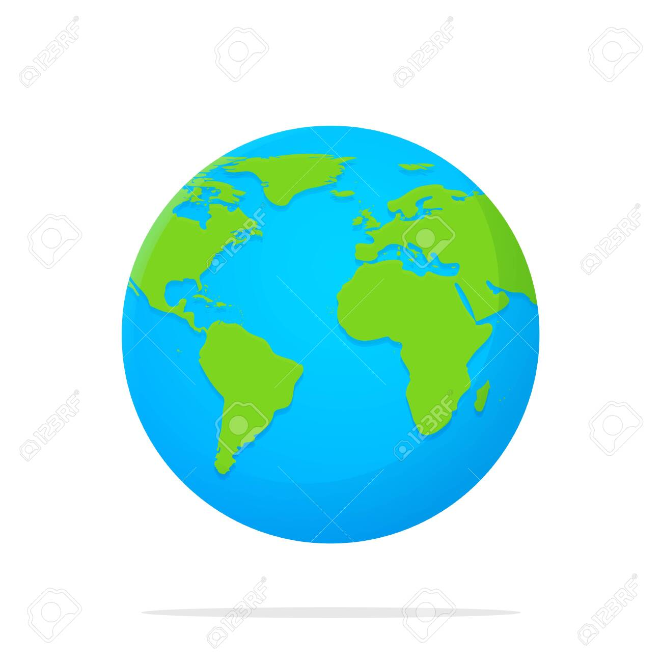 Earth Icon Vector Globe With A Flat Cartoon World Map Isolate