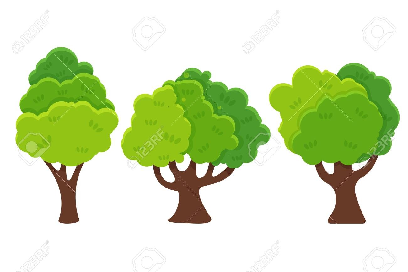 Flat Cartoon Tree Vector Trees With Green Leaves Look Simple Royalty Free Cliparts Vectors And Stock Illustration Image 135768139 With respect to drawing, we can simplify a tree into. flat cartoon tree vector trees with green leaves look simple