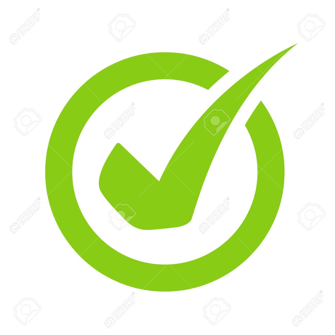 Green check mark icon vector On the circular checkbox For checking information - 153224662