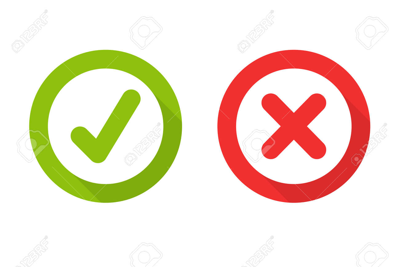 Green check mark and red wrong On the checked box. True or false - 155061861