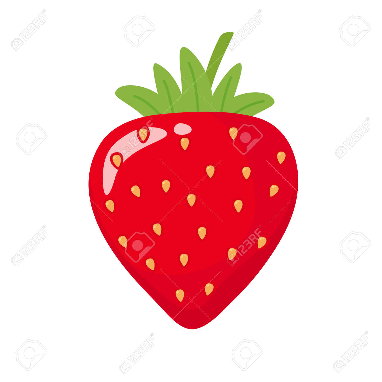 Vector cartoon strawberry red ball With green leaves on top Isolated on white background Health care concept - 158274662