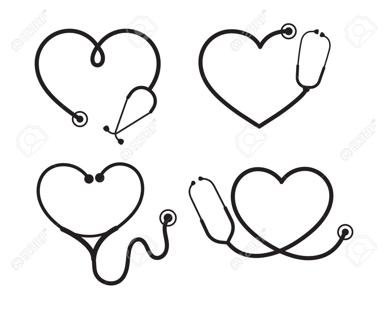 Vector nurse stethoscope silhouette Heart shaped stethoscope line frame Isolated on background. - 165307519