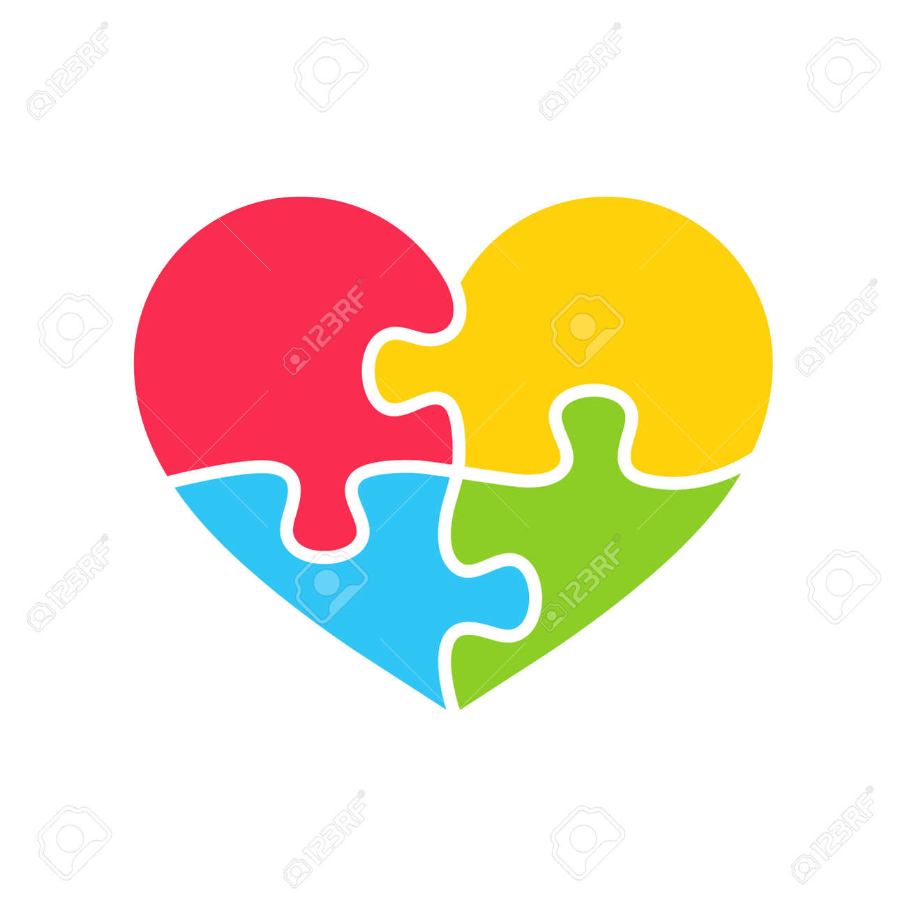 Heart shaped colorful puzzle The concept of children with autism. isolate on background. - 168257471