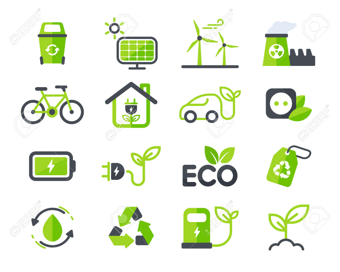 Eco icon. Ecology vector design The concept of caring for the environment by using natural energy. - 169443109