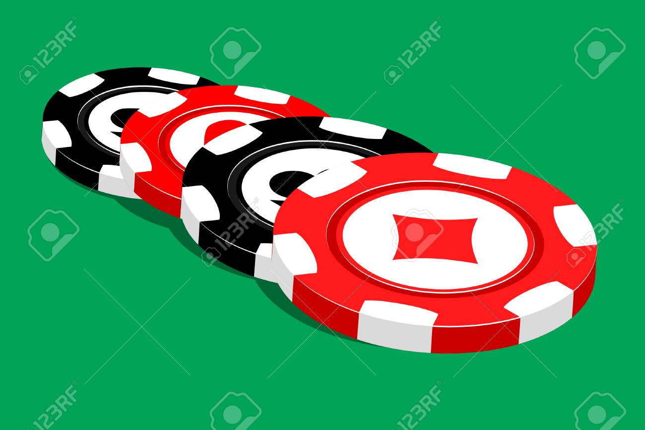 Casino  illustration red chips on green Stock Vector - 7792711