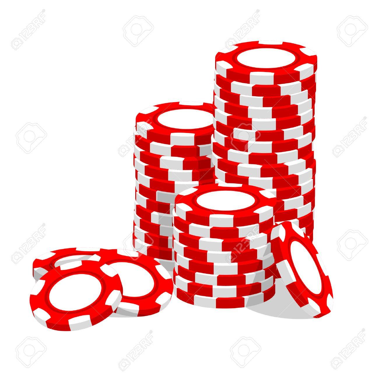 Casino  illustration red chips on white Stock Vector - 7793471