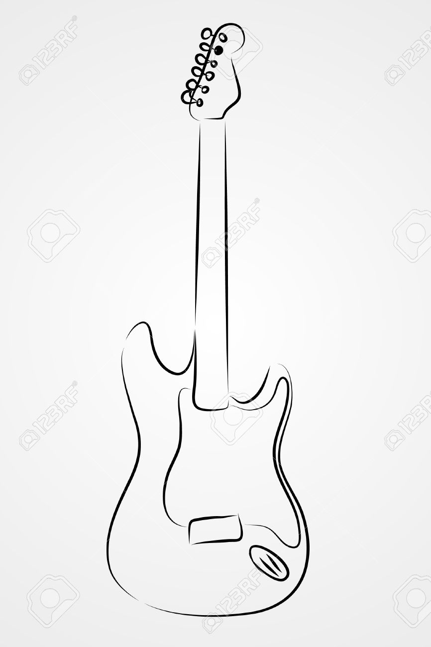 Electric guitar on white background (  illustration) Stock Vector - 7793130